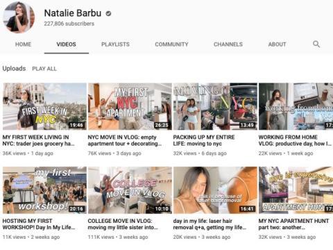Canal de Youtube de Natalie Barbu