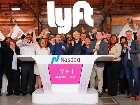 El CEO de Lyft, Logan Green, durante la salida a bolsa de su empresa
