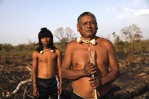 """Chief Hector said the land the farmers were setting on fire was sacred to them. """"It's like the church. They're setting fire to our sacred land,"""" he said. """"They don't respect us."""""""