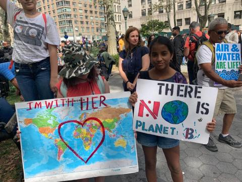 Climate change strikers in New York City.