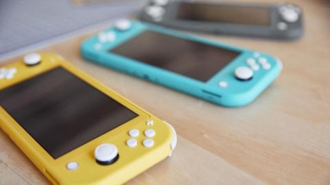 The colorful lineup of Nintendo Switch Lite consoles.
