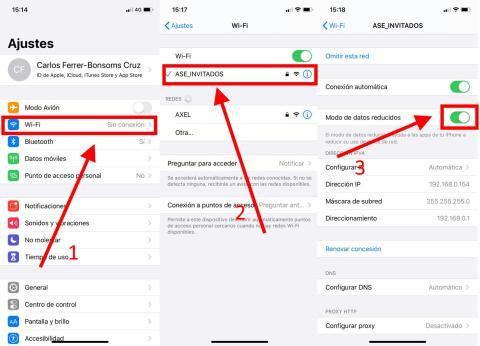 Cómo activar elModo de datos reducidosen iOS 13