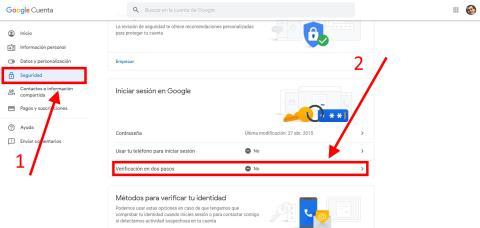 Cómo activar la verificación en dos pasos de Google
