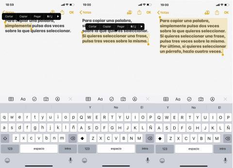 Cómo copiar y pegar textos en iOS 13