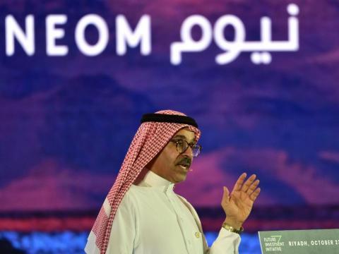 Nadhmi al-Nasr, CEO de Neom, en la conferencia de la Future Investment Initiative FII en Riad el 25 de octubre de 2018.