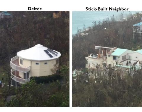 Comparación de dos casas vecinas en St. Thomas después del huracán Irma.