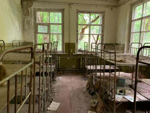 Abandoned bunk beds in the exclusion zone.