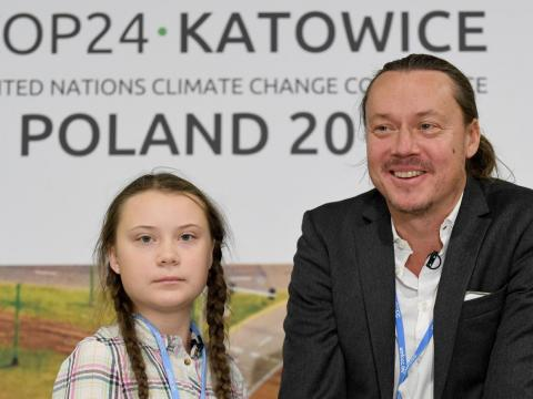 Greta Thunberg and her father, Svante, at a press conference during the COP24 summit in Katowice, Poland, in December 2018.