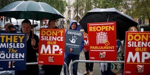 Demonstrators protest outside the Supreme Court in London, Britain September 24, 2019.
