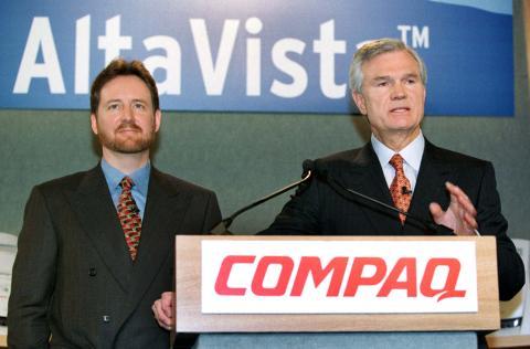 Directivos de AltaVista y Compaq en el anuncio de su compra