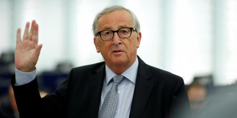 European Commission President Juncker addresses the European Parliament during a debate on Brexit in Strasbourg