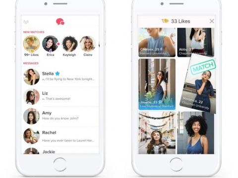 Screenshots of Tinder Gold, the app's premium paid service.