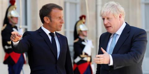 El presidente francés Emmanuel Macron y el primer ministro británico Boris Johnson