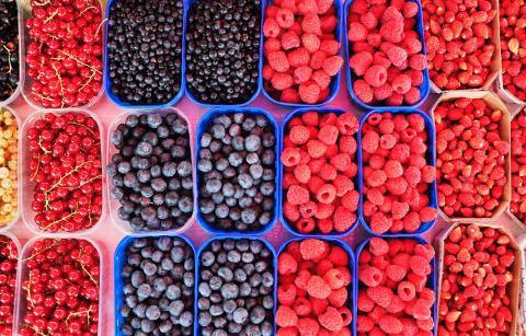 Frutas del bosque, arándanos, frambuesas