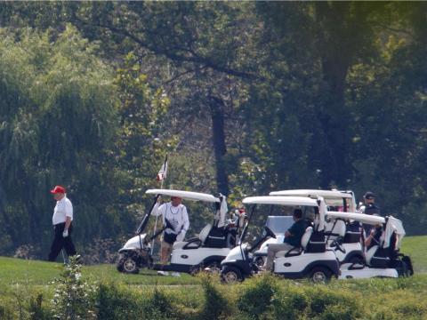 Trump playing golf in Sterling, Virginia.