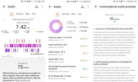 Capturas de pantalla de la app Huawei Salud, con datos de la Honor Band 5.