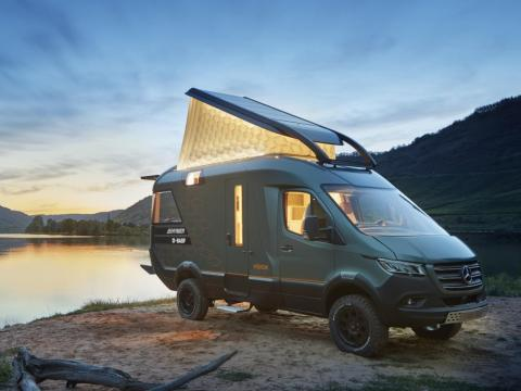 """Hymer utilizes many preexisting """"tiny home"""" concepts that allow the compact Sprinter to feel more spacious, according to the motorhome maker."""