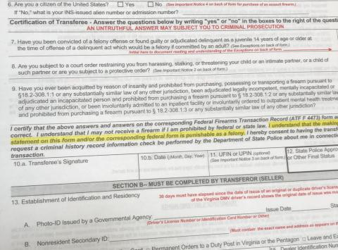 I started filling out the necessary paperwork to buy a gun.
