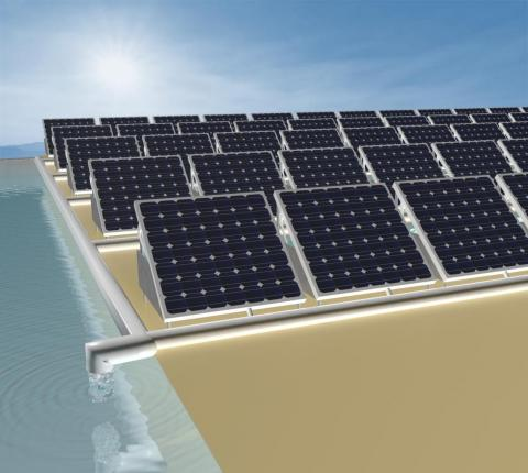 An illustration of solar panels that can produce both electricity and fresh water.
