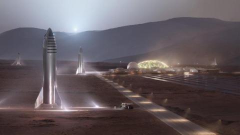 Ilustración del Starship de SpaceX en la superficie de Marte.