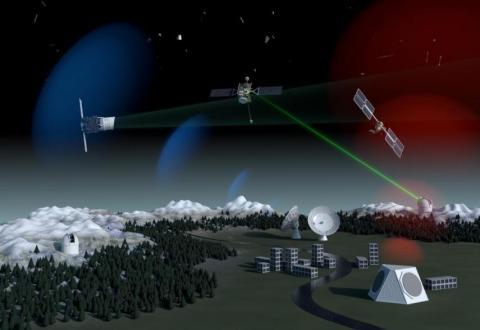 Una ilustración de un futuro sistema de vigilancia de desechos espaciales que utiliza tecnología óptica, de radar y láser en tierra, así como satélites de reconocimiento en órbita.