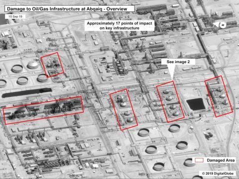 Esta imagen, proporcionada el domingo por el gobierno de Estados Unidos y DigitalGlobe, muestra los daños en la infraestructura de la planta de procesamiento de petróleo Abqaiq de Saudi Aramco en Buqyaq, Arabia Saudí