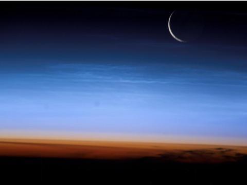 Esta imagen tomada desde la Estación Espacial Internacional muestra la estratosfera de nuestro planeta, la porción más baja y densa de la atmósfera.