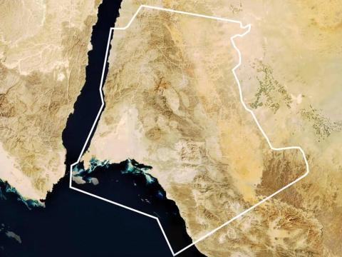 El sitio propuesto para el proyecto Neom en la provincia de Tabuk, al noroeste de Arabia Saudita.