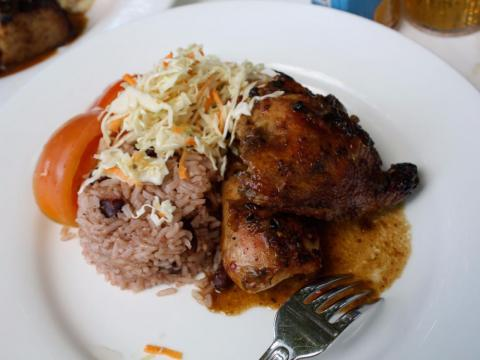 Jamaican jerk chicken with rice and peas.