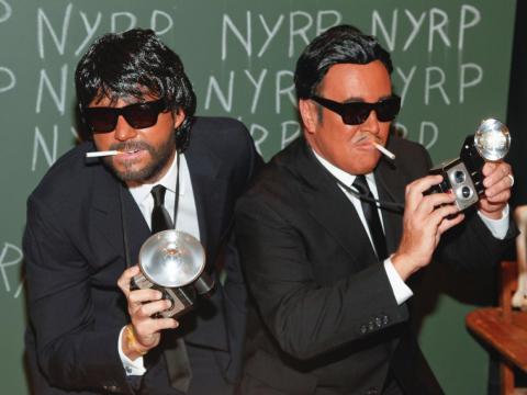 Lance LePere (izquierda) y Michael Kors (derecha) en una fiesta de Halloween.