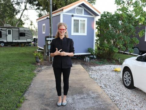 Li-Mor Raviv in the spot her tiny house will one day stand.