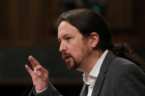 El líder de Podemos, Pablo Iglesias, en una sesión parlamentaria.