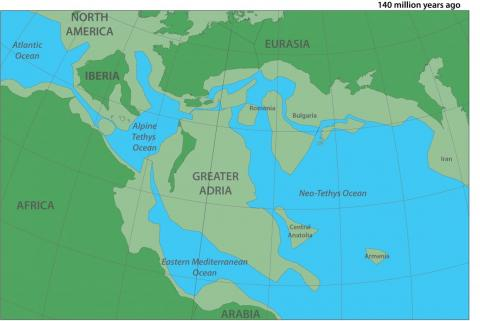 Un mapa de dónde estaba el continente del Gran Adria hace 140 millones de años.