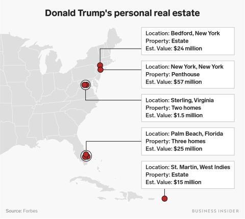 Mapa de propiedades de Dondald Trump