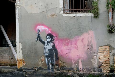 Un mural de Banksy en Venecia.