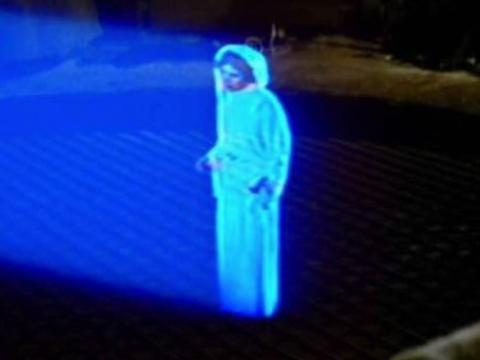 Un holograma de la princesa Leia de Star Wars Episodio IV: Una nueva esperanza.