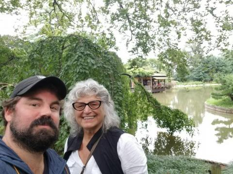 """At noon, Sabatier and Robin take advantage of the nice weather and head to Brooklyn Botanical Garden, where Sabatier is a member. """"This is one of my favorite places on earth,"""" he said."""