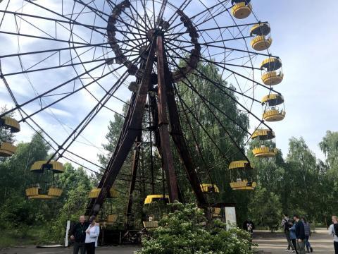 La noria en el parque de atracciones en Pripyat.