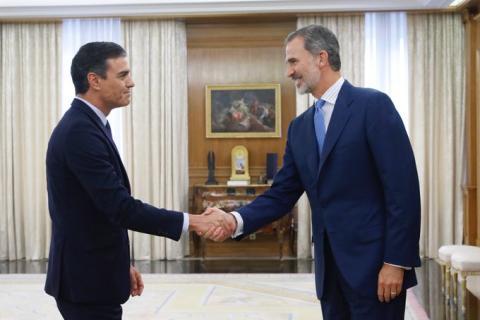 Pedro Sánchez y Felipe VI en la ronda de consultas de septiembre de 2019.