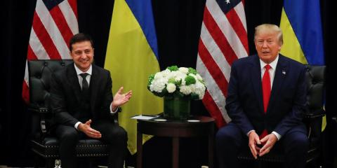 President Donald Trump listens during a bilateral meeting with with Ukraine's President Volodymyr Zelensky on the sidelines of the 74th session of the United Nations General Assembly (UNGA) in New York City, New York, September 25