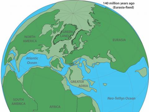 Reconstrucción del aspecto de la Tierra hace 140 millones de años.