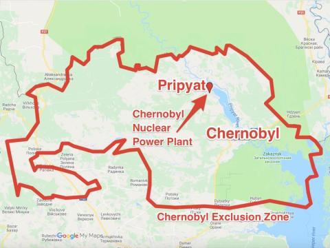 La planta de energía nuclear de Chernobyl está realmente más cerca de la ciudad ahora abandonada de Pripyat que de la ciudad de Chernobyl.