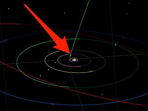 Esta simulación aproximada muestra la posible trayectoria orbital (verde) del C/2019 Q4 a través del Sistema Solar. Puede pasar entre las órbitas de Júpiter (púrpura) y Marte (naranja) a finales de octubre.