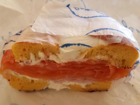 """Sabatier is a fan of eggs and everything bagels. An hour after walking Walter, he grabs breakfast. Today, it's Bergen Bagels, which he says is home to """"the best lox bagel in NYC."""""""