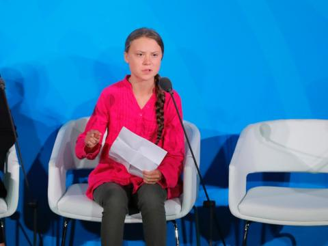 16-year-old Swedish climate activist Greta Thunberg speaks at the 2019 United Nations Climate Action Summit at UN headquarters in New York City, September 23, 2019.