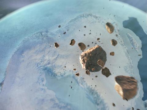 An illustration of asteroids careening toward northern Greenland.