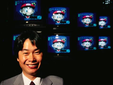 El diseñador de videojuegos Shigeru Miyamoto en 1992.