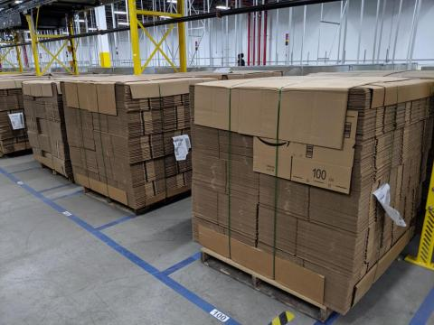Throughout the facility, vast quantities of shipping supplies were being stored.