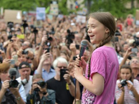 "Greta Thunberg speaks at the school strike demonstration ""Fridays for Future"" in Berlin, Germany, July 19, 2019."