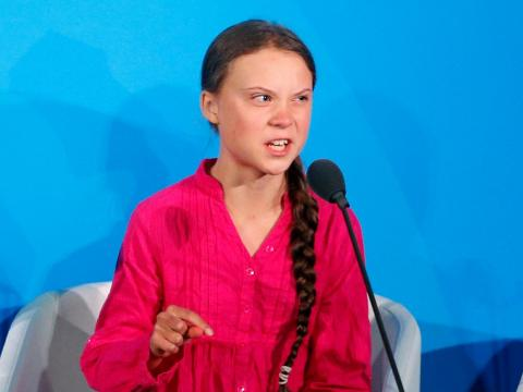 Greta Thunberg addresses the Climate Action Summit in the United Nations General Assembly, at UN headquarters, Monday, Sept. 23, 2019.